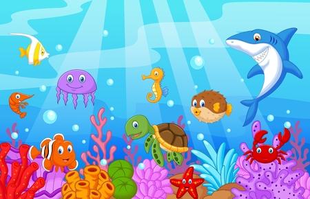 tortuga caricatura: Mar de dibujos animados la vida con juego de colección de peces Vectores