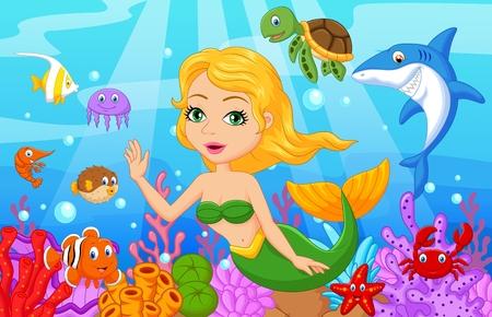 payasos caricatura: Historieta linda sirena con equipo de recogida de peces