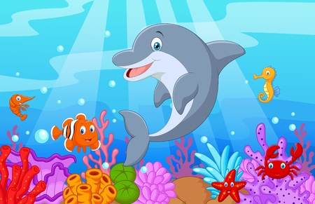 cute animal cartoon: Standing Dolphin Illustration with collection fish