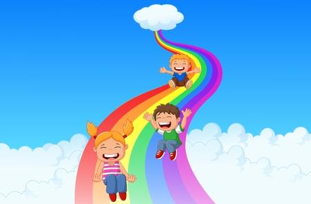 rainbow slide: Cartoon little kids playing slide rainbow Illustration