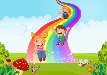 cartoon kid: Cartoon little kids playing slide rainbow in the jungle