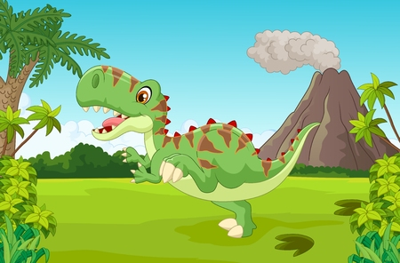 forest jungle: Cartoon Cute tyrannosaurus cartoon Illustration