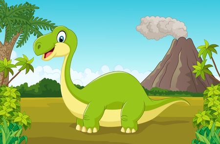 scary forest: Cartoon happy dinosaur in the jungle