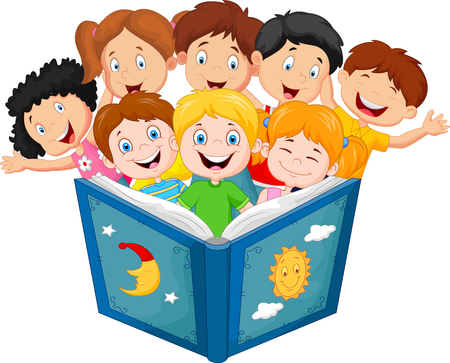 Cartoon little kid reading book