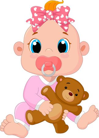 female animal: Cartoon cute baby