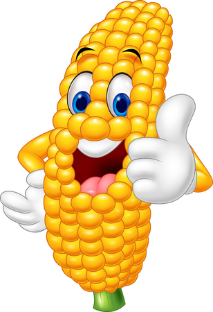 corn: Happy cartoon giving thumb up