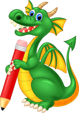 cartoon human: Cartoon cute dragon holding red pencil