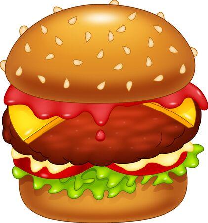 vegetable fat: Cartoon burger delicious