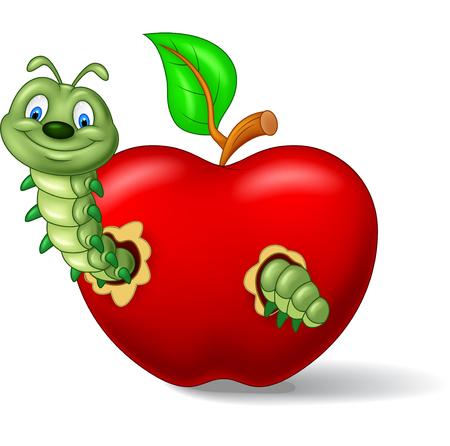 apple bite: Caterpillar eat the apple