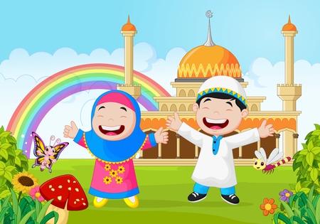smile face: Cartoon happy little kid with rainbow