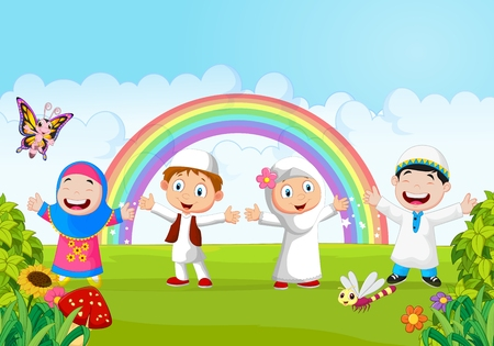 to laugh: Happy little kid with rainbow
