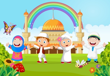 Muslim: Cartoon little kid with the mosque