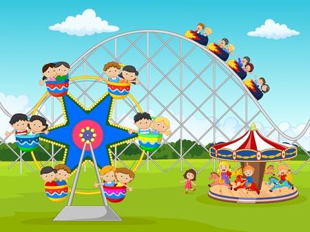 rollercoaster: Cartoon little kid in the carnival festival