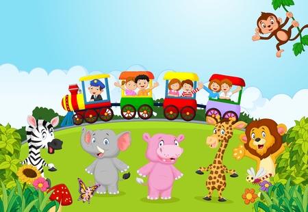 動物とカラフルな電車の中で幸せな子供たち