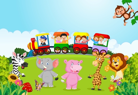 cartoon school girl: Happy kids on a colorful train with animal