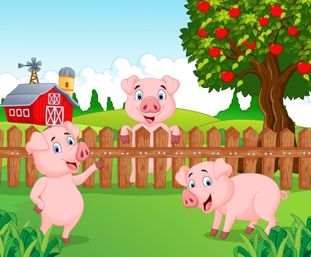 Cartoon adorable baby pig on the farm Ilustração
