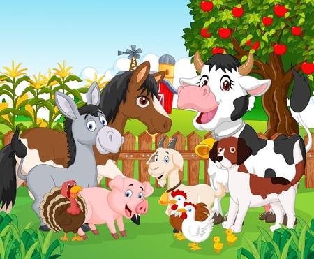 albero di mele: Cartoon carino animali