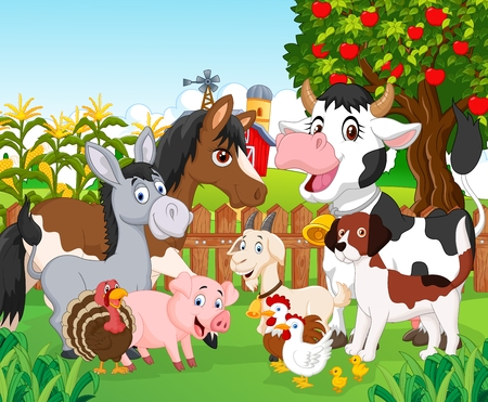farm landscape: Cartoon cute animal Illustration