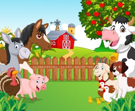 Karikatür mutlu hayvan toplama Çizim
