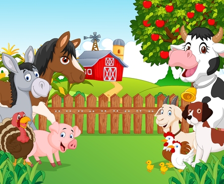 vaca caricatura: Recogida de animales de dibujos animados feliz