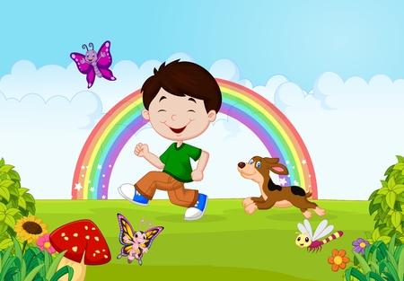 cartoon mushroom: Illustration of a boy running with his pet Illustration