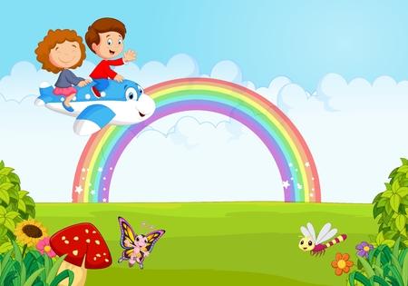 arcoiris caricatura: Ni�o Operar un plano con el arco iris