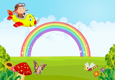 aerodrome: Little Boy Operating a Plane with rainbow