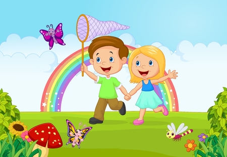 nursery school: Cartoon kids catching butterfly in the jungle Illustration