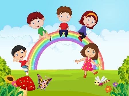 Cartoon Gelukkige kinderen zitten op regenboog op de jungle
