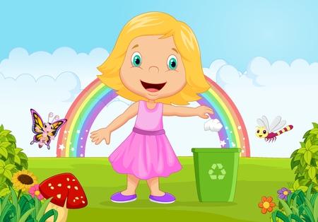 separacion de basura: Chica joven que lanza basura en la papelera en la selva