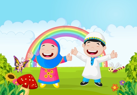 Cartoon happy little kid with rainbow