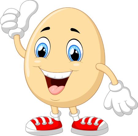 cartoon egg: Cartoon egg giving thumb up Illustration