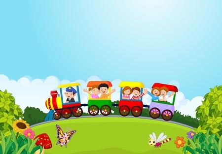 Caricatura de niños felices en un tren colorido