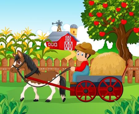hay: Cartoon farmer with hay cart