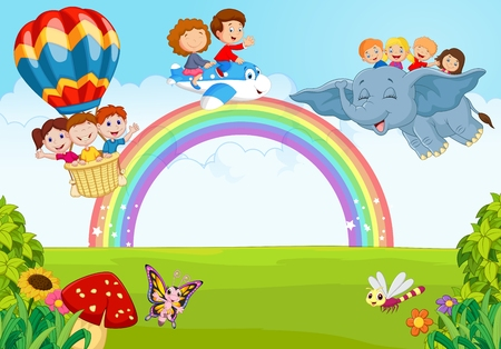 landscape: Cartoon little kid on the rainbow