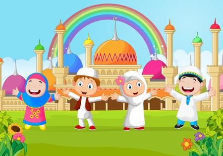 fille arabe: Cartoon gar�on heureux musulman avec arc en ciel