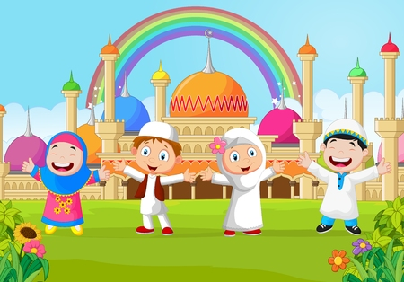 cute girl cartoon: Cartoon happy kid muslim with rainbow Illustration