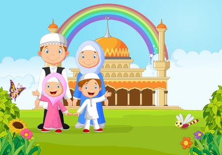 happy family smiling: Cartoon happy Muslim family with rainbow Illustration