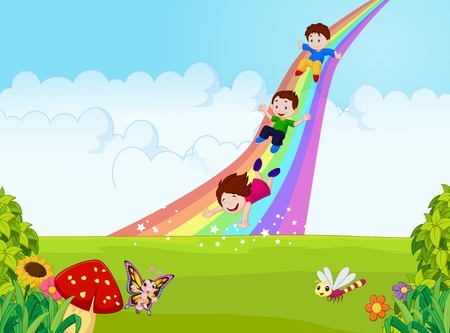 Cartoon little kids playing slide rainbow in the jungle