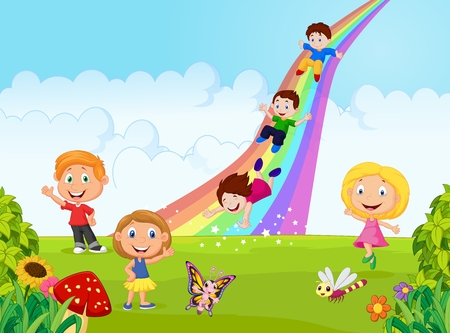 rainbow slide: Cartoon little kids playing slide rainbow in the jungle