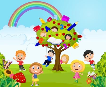 kid vector: Cartoon niño pequeño juego de juego en la selva