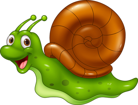 동물: 흰색 배경에 귀여운 만화 달팽이