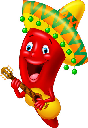 guy playing guitar: Red Chili Pepper Cartoon Character With Mexican Hat Playing A Guitar
