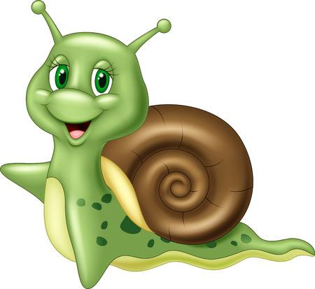 động vật: ốc hoạt hình dễ thương vẫy trên nền trắng