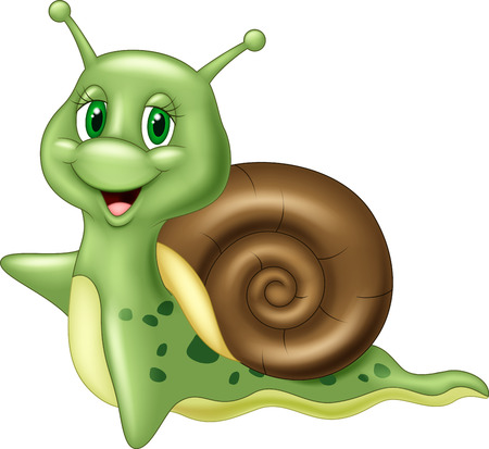 Cute cartoon snail waving on white background