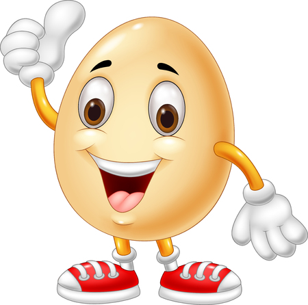 Cartoon egg giving thumb up Stock Illustratie