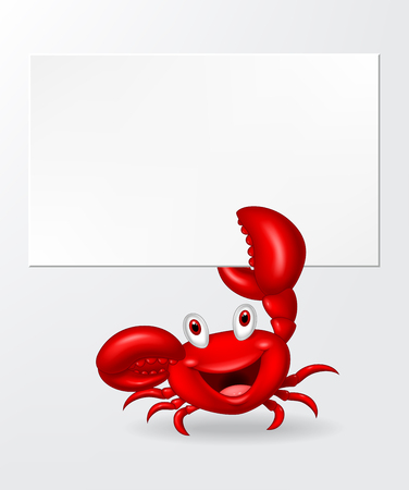 holding sign: Cartoon crab holding blank sign Illustration