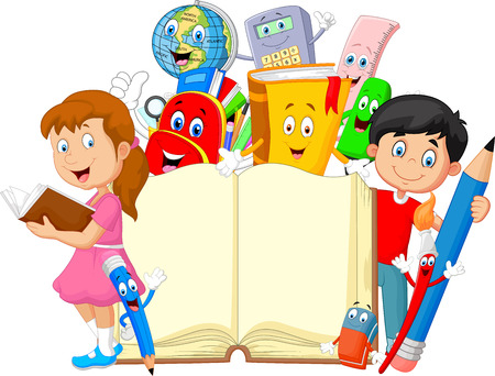 school illustration: Cartoon little kid with cartoon stationery