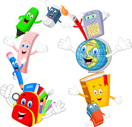 Collection stationery giving thumb up and waving hand Stok Fotoğraf - 45092664