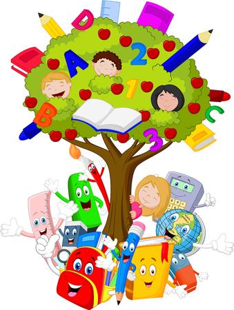 Colección de papelería con la historieta del árbol
